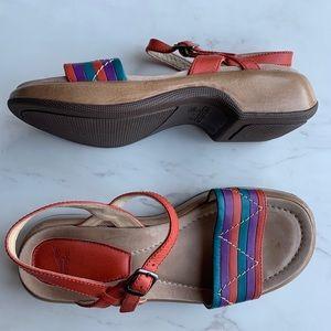 Dansko platform ankle strap sandals colourful